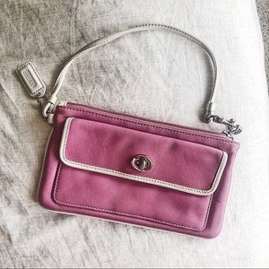 Coach pink leather coin purse / wristlet